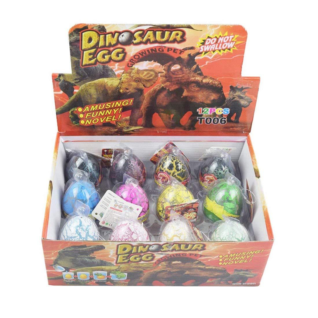 Yeelan 12pcs Huevos de Dinosaurio Dino Dragon Hatching Growing Hatch Grow Egg for Kids/Niños pequeños/Educación Infantil/Escolar (Tamaño de un Huevo: ...