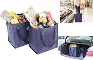 Insulated Lunch Bag Wine Cooler Thermo Tote Reusable Tall Water Bottle Carrier For Adults (Pack of 2 for Price of 1) (Pack of 2-LARGE SIZE-ST3131-(Navy))