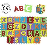 LUDI – Tapis de sol épais pour l'éveil de bébé – puzzle géant aux motifs Animaux – dès 10 mois – lot de 9 dalles en mousse multicolores et 18 éléments pour tapis de jeu