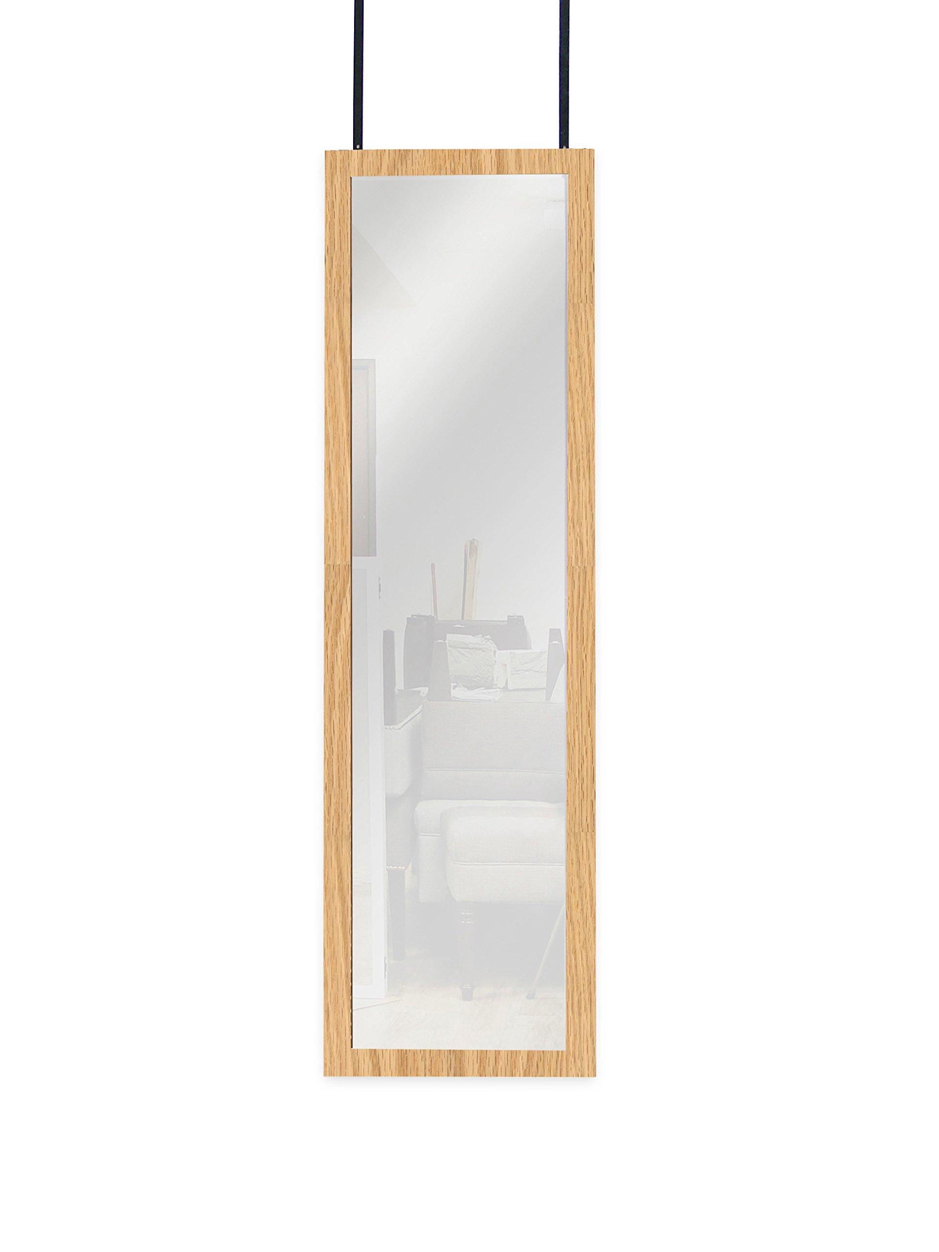 Mirrotek Over the Door Wall Mounted Full Length Door Dressing Mirror, Hardware Included, Oak Finish