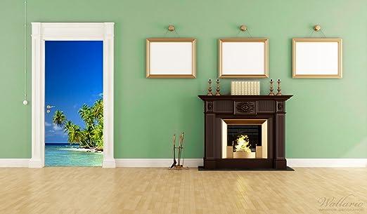 93 x 205 cm Adesivo da porta soggetto: spiaggia al mare autoadesivo Mantiburi