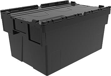 Caja de plástico reciclado con tapa, contenedor para guardar cosas ...