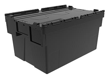 Caja de plástico reciclado con tapa, contenedor para guardar cosas, caja de