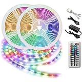 Led Strip Lights 32.8ft 10m SMD5050 RGB Light Strip Kits with 44 Keys IR Remote and 12V Power Supply for Bedroom, TV, Kitchen