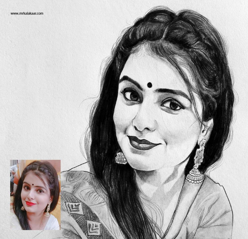 Pencil Drawing Single Face Size A3 Amazon In Home Kitchen