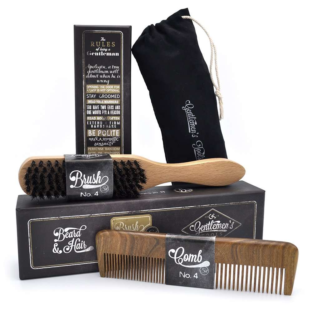 Hair & Beard Comb + Brush   Set   For Men, Sandal Wood Comb, 100 Percents Natural Boar Bristle Brush, Best For Grooming Facial And Head Hair, Use With Balm,... by Gentlemen's Tools