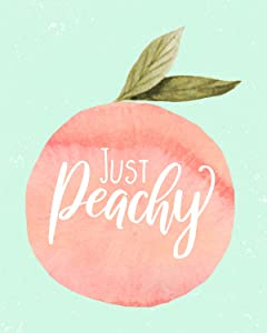 Just Peachy - Wall Decor Art Print on Light Green Background - 11x14 unframed print - great gift for peach fans