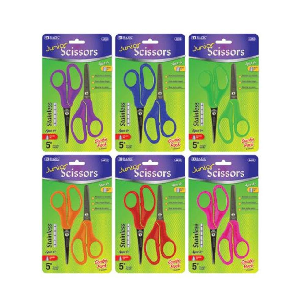 BAZIC Blunt & Pointed Tip School Scissors 5'' 144 Packs of 2