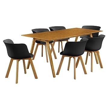 en.casa]®] Mesa de Comedor con 6 sillas- bambú/Negro 180x80 - Mesa ...