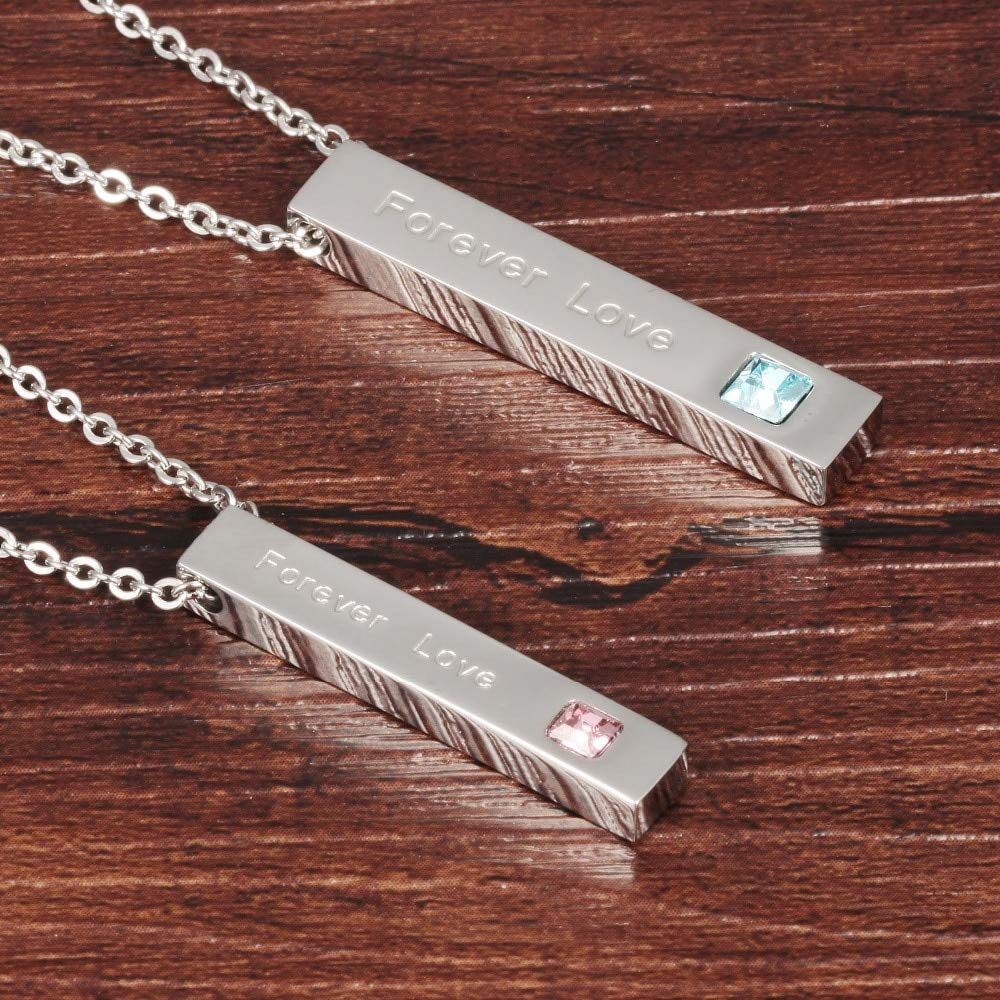 Metal Color: Male Davitu Fashion Korean Couple Necklaces Set Pendant Necklace Engrave Forever Love 316L Full Steel Blue /& Pink Crystal Pendant FL1009