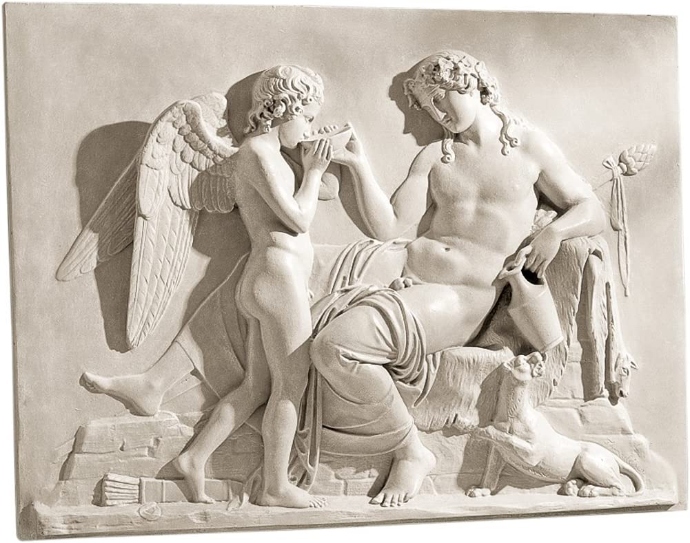 Design Toscano NG31503 Eros and Dionysus High Relief Frieze Sculpture,antique stone
