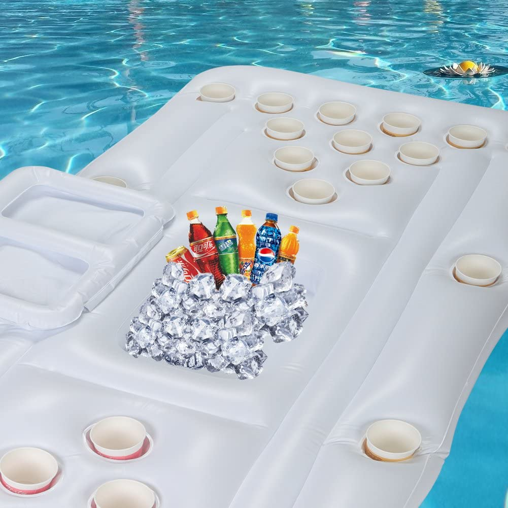 28 Holes Floating Beer Pong Table with Drinks Cooler for Pool Party Game Giant Floating Lounger 180X80cm SOULONG Inflatable Beer Pong Float Table