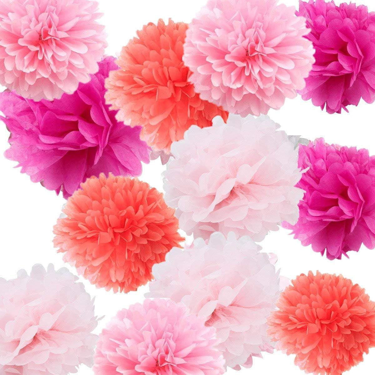 kilofly 24pc Wedding Crafts Tissue Paper Pom Pom Flower Color Party Decoration