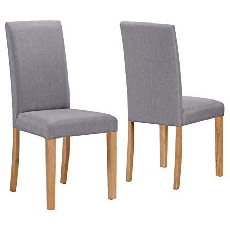 Superb NEW HAVEN Pair Of Chairs In Grey Fabric