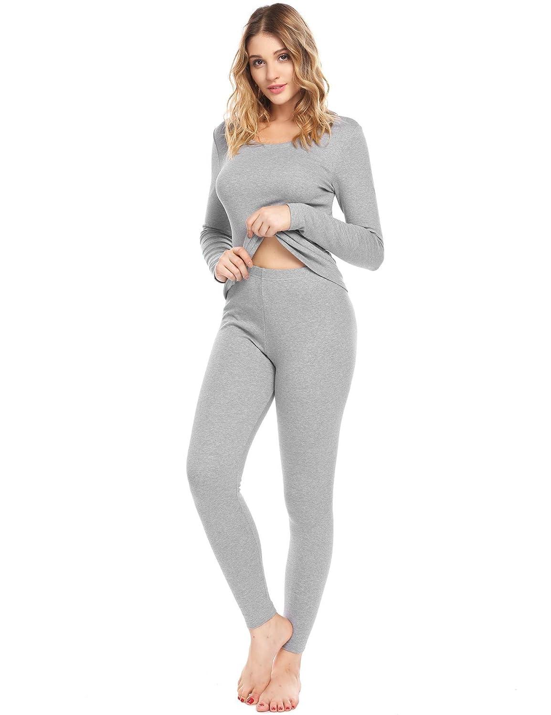 eshion Women Long Sleeve Pajamas Thermal Base Layer Underwear Set Lightweight Cotton Nighty S-XXL