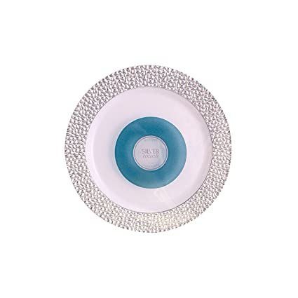 Blue Sky Disposable Plastic Plates with Hammered Silver Border7.5-Inch White (  sc 1 st  Amazon.com & Amazon.com: Blue Sky Disposable Plastic Plates with Hammered Silver ...