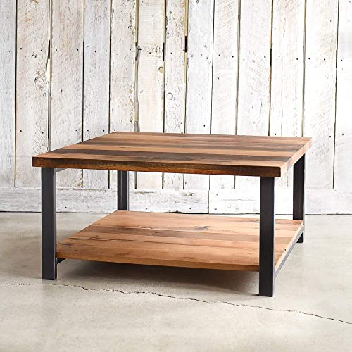 Amazon Com Square Reclaimed Wood Coffee Table With Lower Shelf