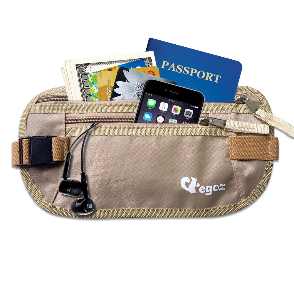Egoz Travel Money Belt RFID Blocking - Under Clothes Waist Bag - Hidden Security Pouch For Cash Cards Passport Tickets - 2 Zip Pockets Adjustable Strap Side Clip Washable Light Slim Comfort E161114