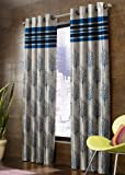 Homefab India Jacquard Blackout Polyester Jute Window Curtain, 5ft (Blue) - 4 Piece