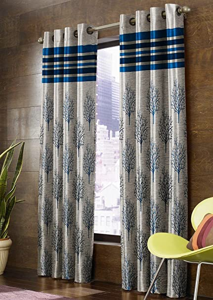 buy homefab india jacquard blackout 4 piece jute window curtain rh amazon in  bay window curtain ideas photos