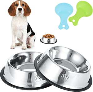Inscape Data 2 Pack Dog Bowl Stainless Steel Dog Food and Water Bowls Pet Feeder Bowls with Spoons, Non-Slip Rubber Base - Easy to Clean(18oz)