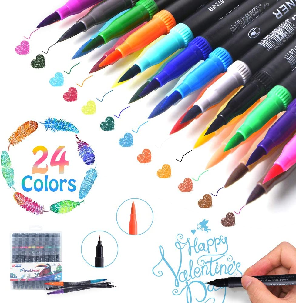 24 Pcs Colors Brush Tips /& Colored Fine Point Pen Set for Lettering Writing Coloring Drawing,Planner Art Supplier Journal Planner Pens Dual Markers Brush Pen