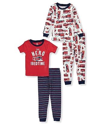 7e1c6b006933 Carter s Boys  12 Months-12 4 Piece Firetruck Pajama Set  Amazon.co ...