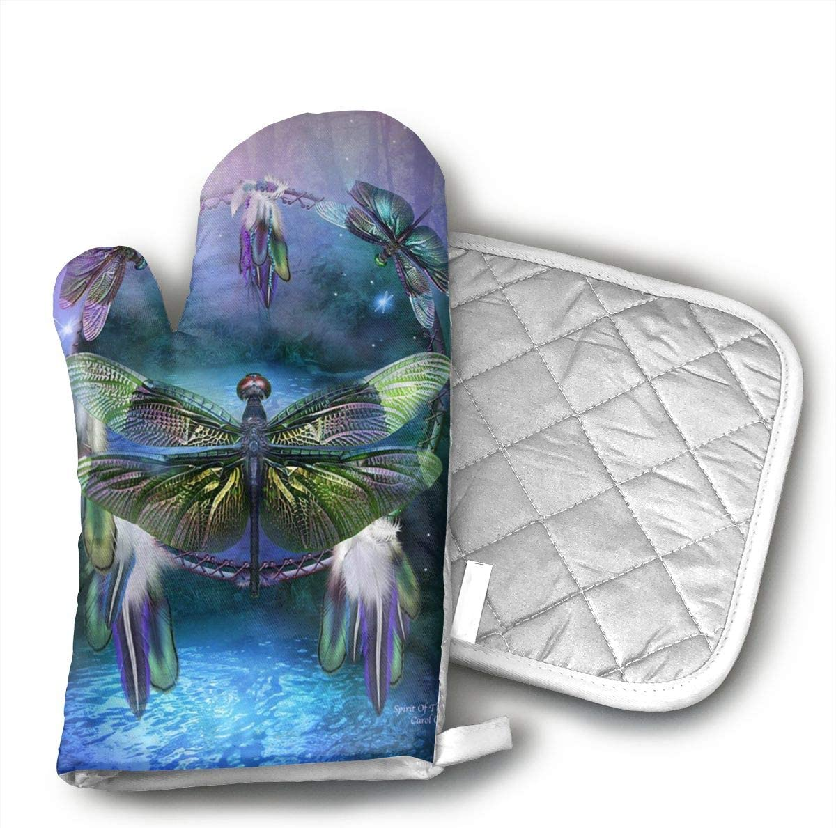 Klasl5 Dream Catcher Dragonfly Oven Mitts,Heat Resistant Oven Gloves,Non-Slip Cooking Gloves,Washable Kitchen Mitts for Baking, Barbecue.