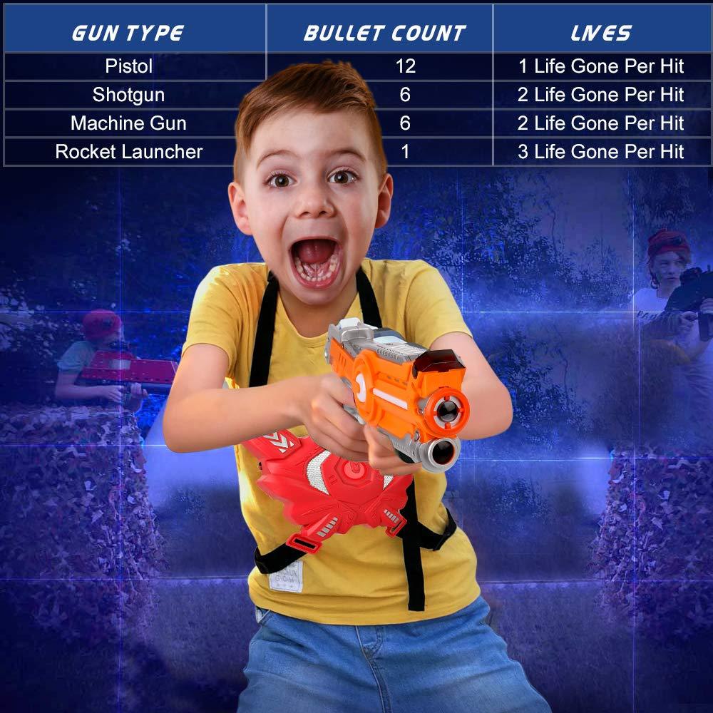 Laser Tag Guns Sets, Super Joy Infrared Laser Tag Sets with 4 Guns and 4 Vests, Laser Tag Gun Toys Indoor Outdoor Game for Boys Girls by Super Joy (Image #7)