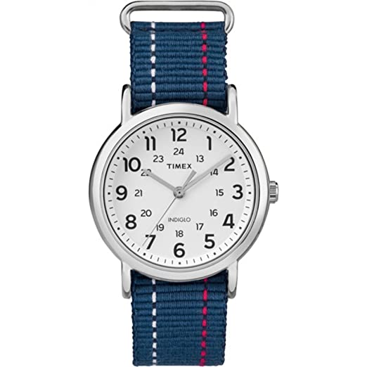 Timex Unisex TW2R107009J Weekender Blue Denim Red and White Stitching Slip-Thru Strap Watch best minimalist watches for women