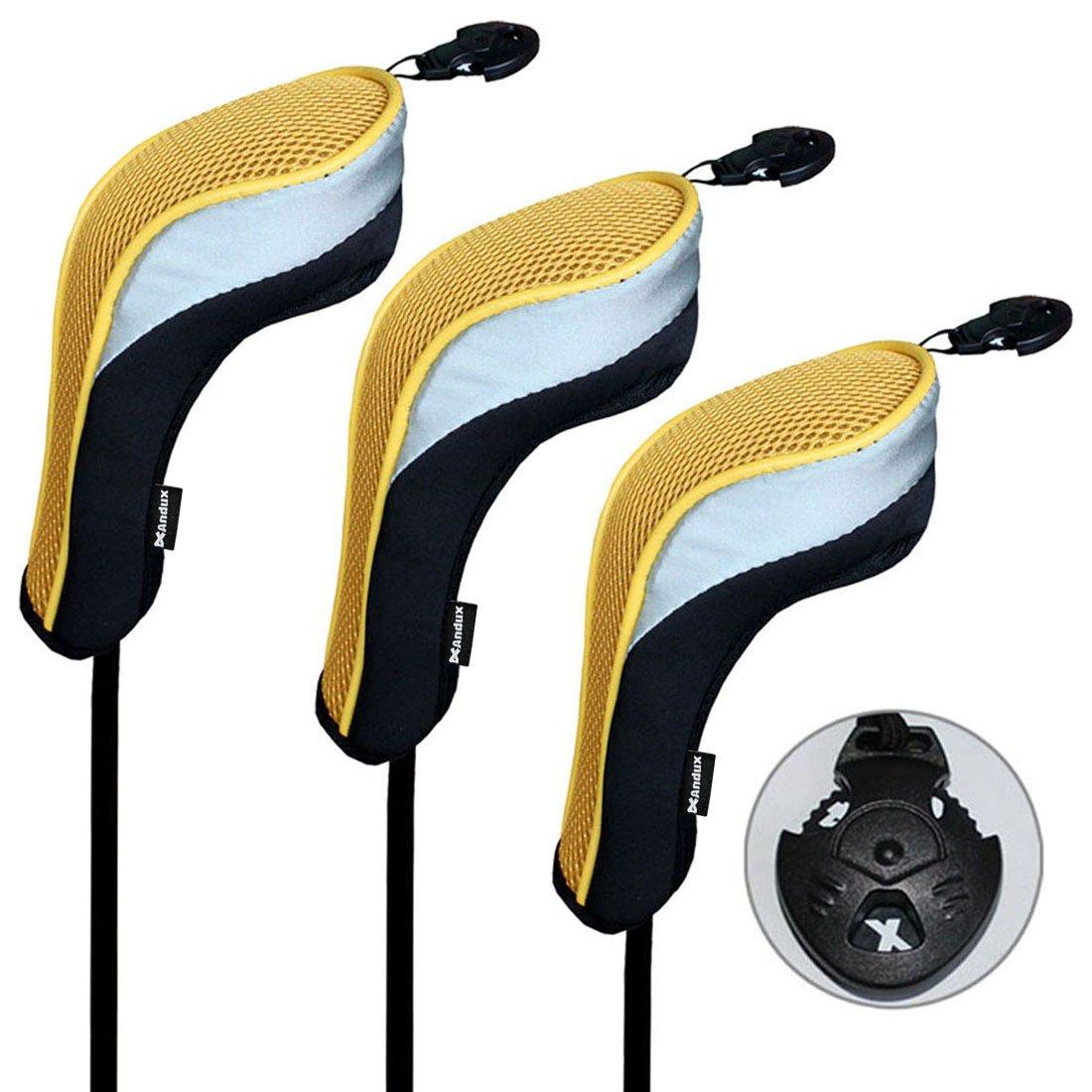 Andux 3 piezas funda de palo de golf híbridos con intercambiable No. etiqueta MT/hy02 (Negro/amrillo)
