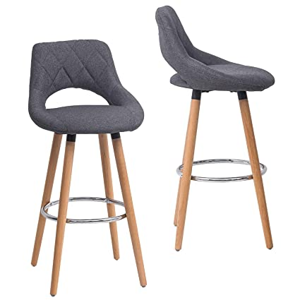 Llivekit Bar Stool Bar Bistro Hooker Counter Stools With Backrest Footrest Chairs Wood Fabric Faux Leather For Kitchen Footrest Set Of 2 Dark Grey