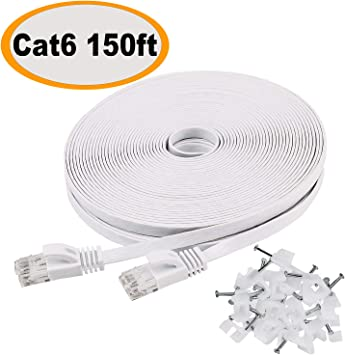 Cat 6 Ethernet Cable 150 FT Flat Internet Network Cables with Cable Clips Cat...
