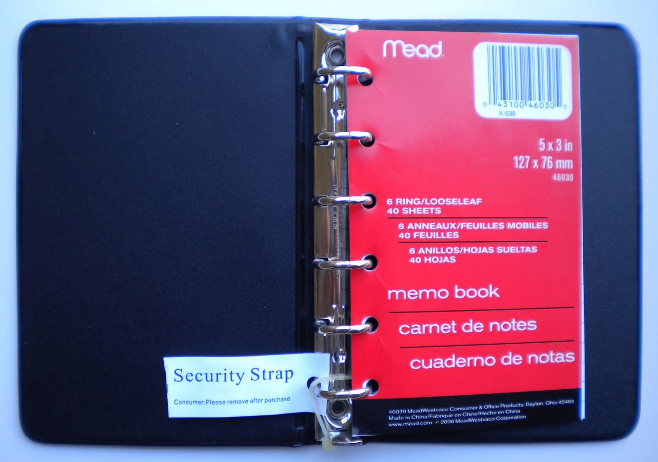Mead (46000) Four Different Colored Mini 6-Ring Memo Books, Each Containing 3 x 5 inch Lined Paper by Mead (Image #1)