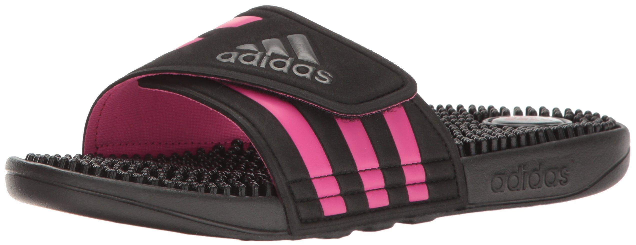 adidas Womens' Shoes | Adissage Slide Sandals, Black/Night Metallic/Shock Pink, (9 M US)