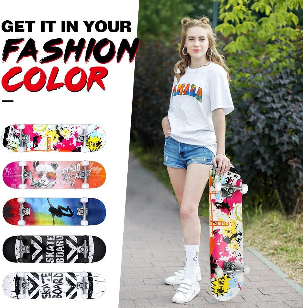 7-Lagiger Kanadischer Ahorn Double Kick Deck Concave mit All-in-One Skate T-Tool f/ür Anf/änger BELEEV Skateboard 31x8 Zoll Komplette Cruiser Skateboard f/ür Kinder Jugendliche Erwachsene