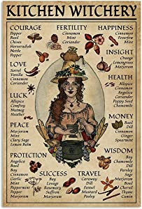 Eeypy Kitchen Witchery Witch for Vintage Poster Metal Tin Signs Iron Painting Plaque Wall Decor Bar Cat Club Novelty Funny Bathroom Toilet Paper Retro Parlor Cafe Store 8x12 Inch
