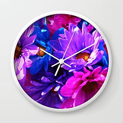 Amazon society6 neon purple blue and pink flowers wall clock society6 neon purple blue and pink flowers wall clock white frame white hands mightylinksfo