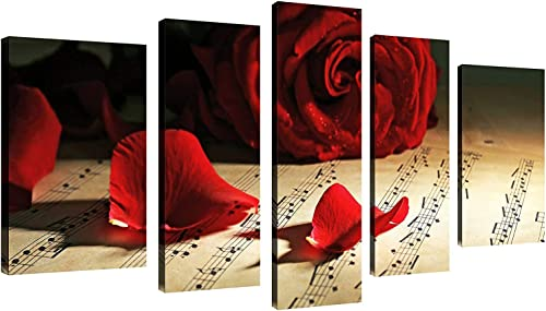 QICAI 5 Panels Vintage Red Rose with Music Notes Painting Flower Wall Decor Flower Paintings on Canvas Wall Art for Living Room Bedroom Home Bathroom Decoration Stretched and Framed Ready to Hang