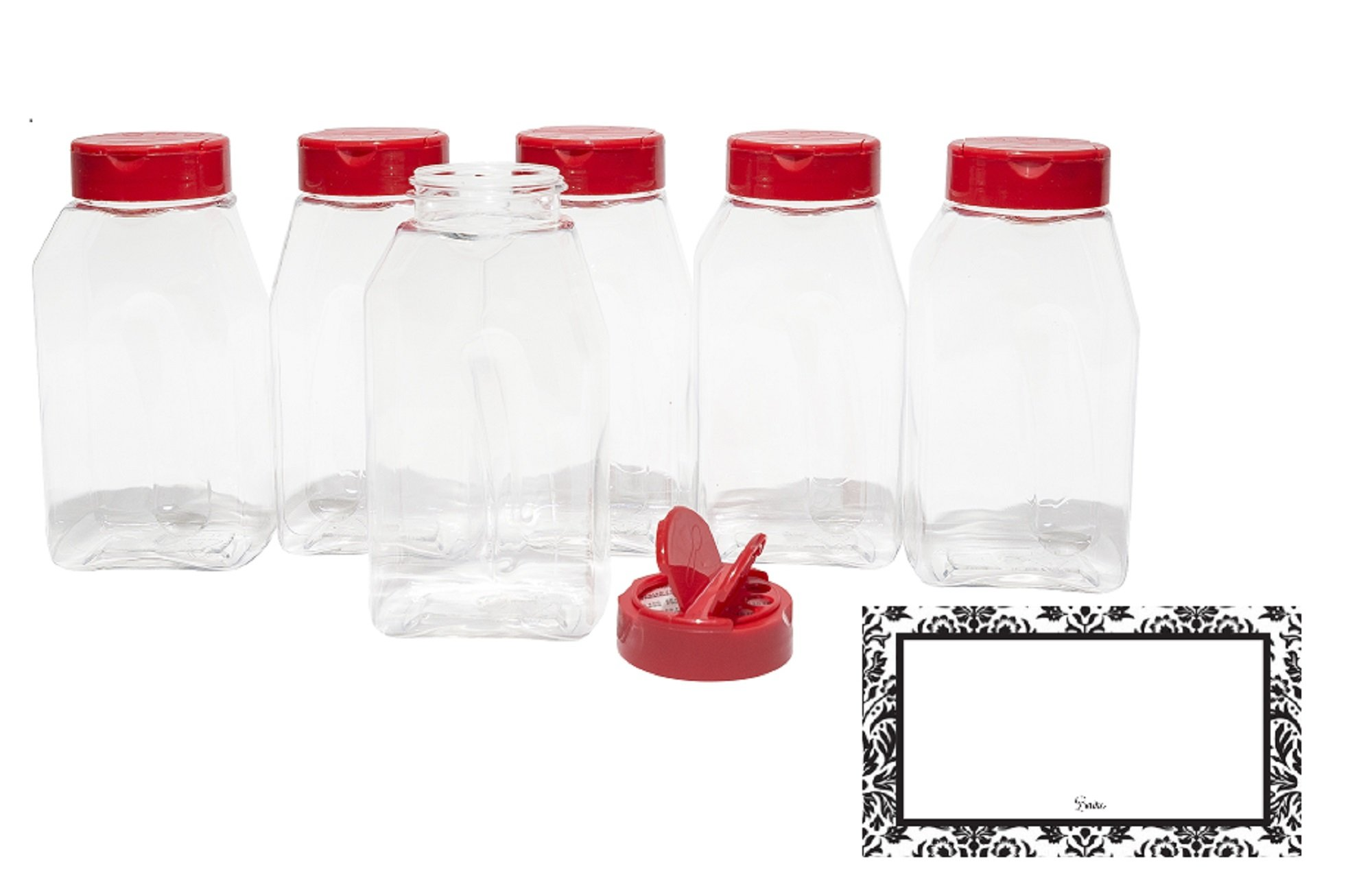 Tosnail 16 Pack 17 Fluid Oz Clear Plastic Spice Jars Spice Containers Spice