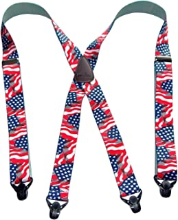 product image for Classic Series American Flag Pattern X-back Suspenders with Black Gripper Clasps