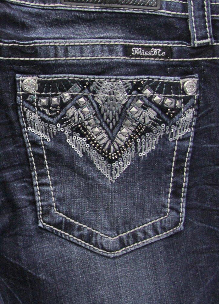 Miss Me Broken Dreams Black Sequin Pocket Skinny Jeans Extended Size 32 33 34 (Medium Blue, 26)