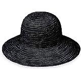 Wallaroo Hat Company Women s Scrunchie Sun Hat - Black White Dots ... e8640a9b1c00