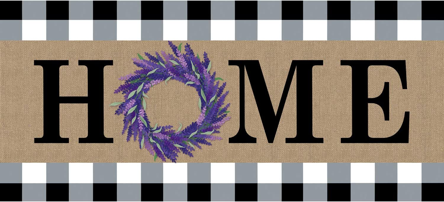 Evergreen Flag Home Lavender Wreath Burlap Sassafras Switch Mat 10 x 22 Inch Interchangeable Door and Floormat for Homes Gardens and Yards