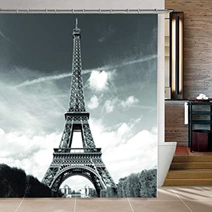 Ocathnon Shower Curtains Eiffel Tower Curtain Set With 12 Hookers Paris Decor Polyester