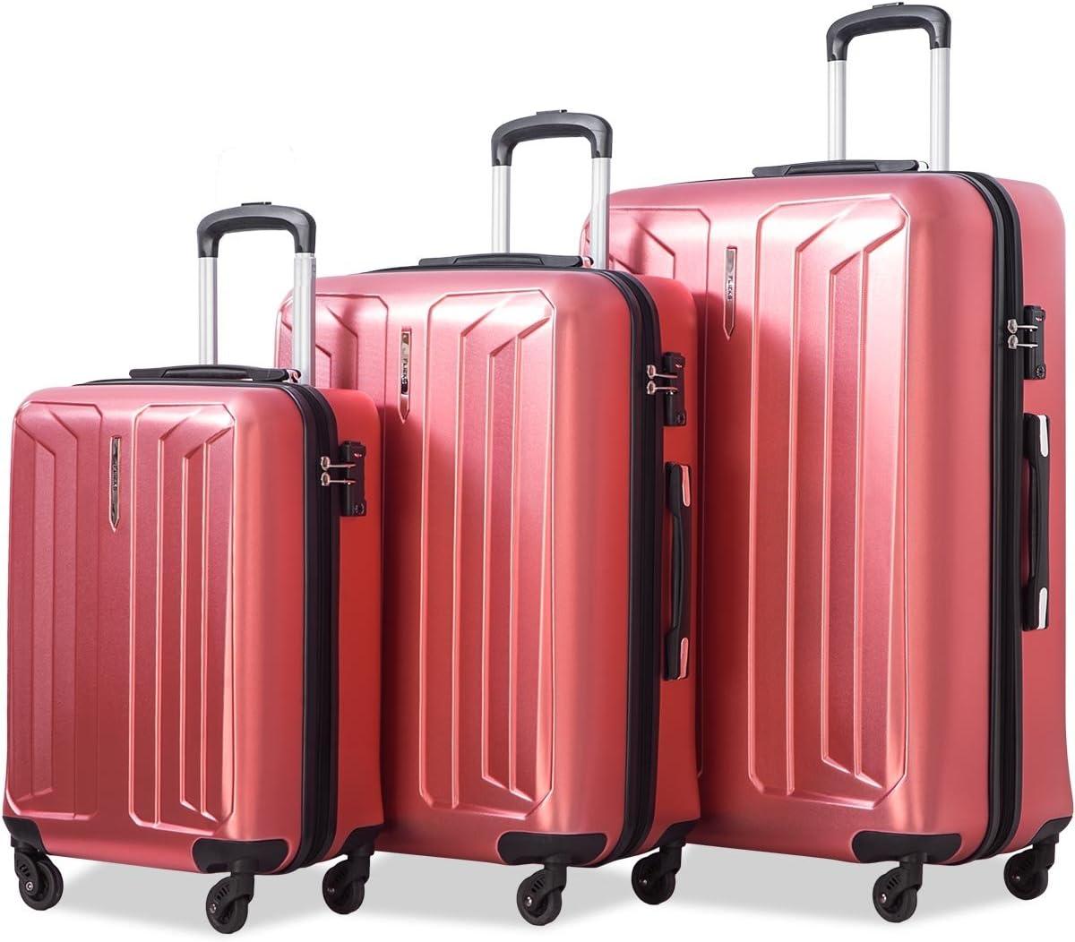 Flieks Luggage 3 Piece Sets Spinner Suitcase with TSA Lock, Lightweight 20 24 28 Red