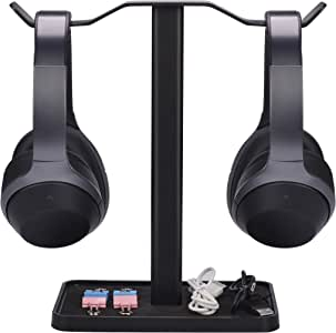[Super Stable] Neetto HS908 Dual Headphones Stand for Desk, Aluminum Alloy & Metal Gaming Headsets Holder Hanger for Sennheiser, Sony, Audio-Technica, Bose, Beats, Akg, Display Mount