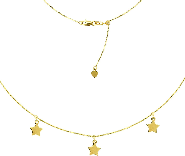 Sterling Silver 5 Pc Dangle Star Adj Choker Necklace