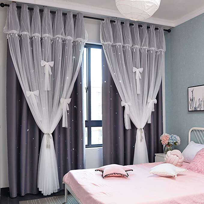 Blue Beige, W52 X L63 Yancorp Room Darkening Light Blocking Pink Curtains White Sheer Lace Detachable Bow Ties Kids Room Decor Ombre Drapes Star Double Layer Window Panels Bedroom Living Room