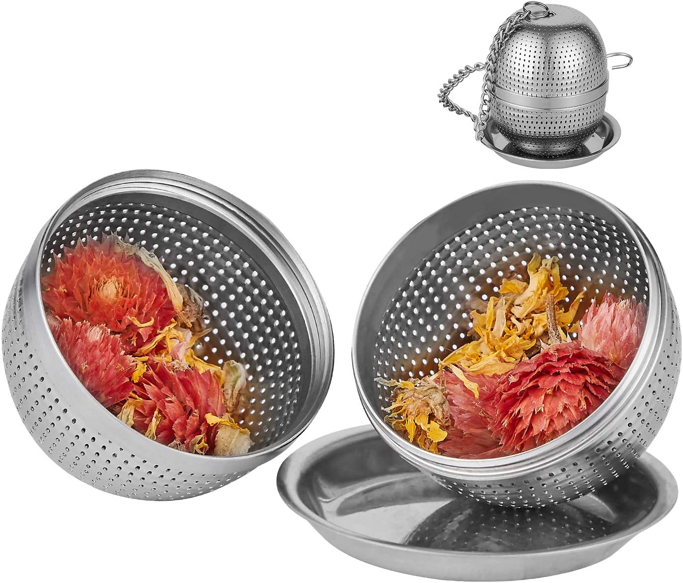 MAI/&BAO 304 Stainless Steel Herb//Spice Ball Tea Strainer Ball Mesh Strainer Filter for Loose Leaf Tea and Mulling Spices Silver 2 Pieces